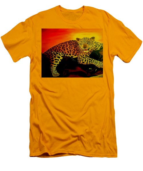 Leopard On A Tree Men's T-Shirt (Slim Fit) by Manuel Sanchez