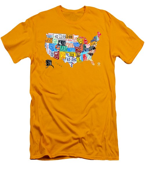 License Plate Art Map Of The United States On Yellow Board Men's T-Shirt (Slim Fit) by Design Turnpike