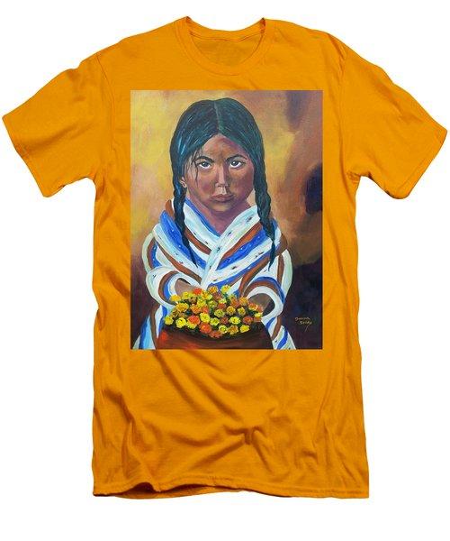 Little Indian Flower Girl Men's T-Shirt (Athletic Fit)