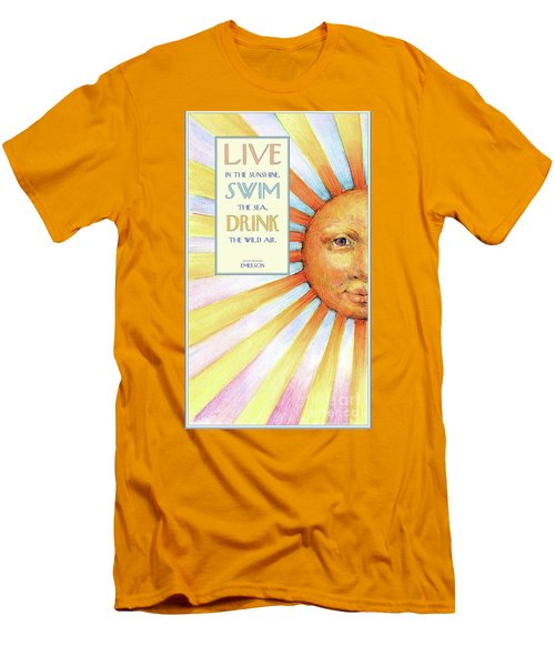Men's T-Shirt (Slim Fit) featuring the painting Live In The Sunshine by Lora Serra
