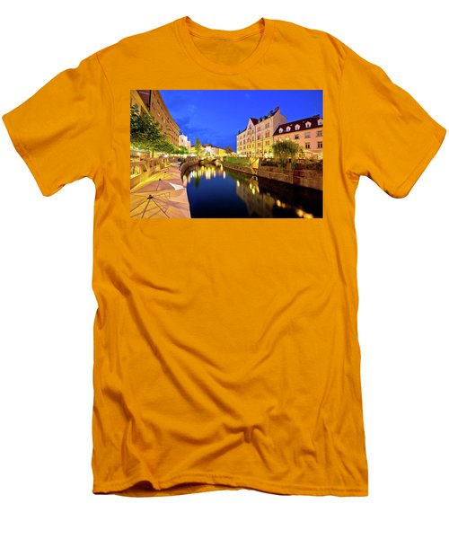 Ljubljanica River Waterfront In Ljubljana Evening View Men's T-Shirt (Slim Fit) by Brch Photography