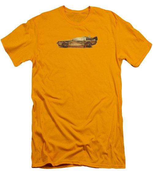 Lost In The Wild Wild West Golden Delorean Doubleexposure Art Men's T-Shirt (Slim Fit) by Philipp Rietz