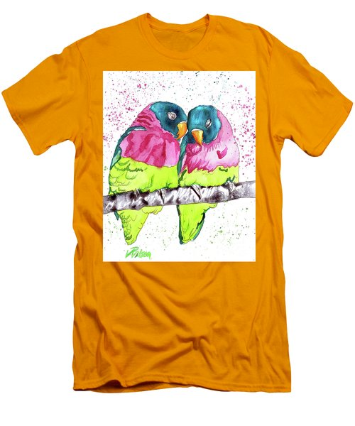 Lovebirds Men's T-Shirt (Slim Fit) by D Renee Wilson