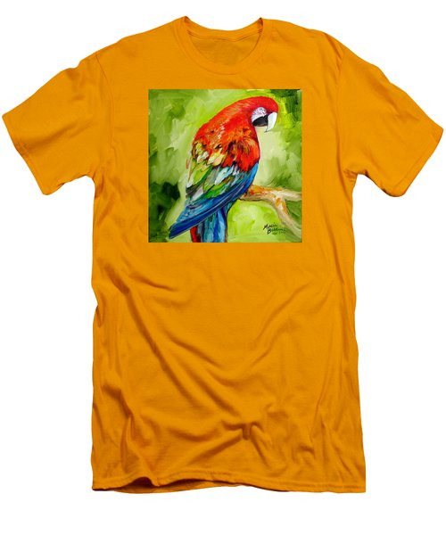 Macaw Tropical Men's T-Shirt (Slim Fit) by Marcia Baldwin