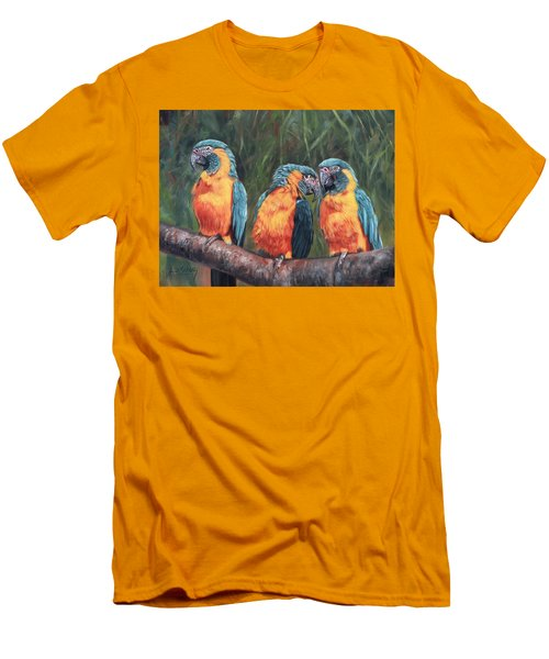 Men's T-Shirt (Slim Fit) featuring the painting Macaws by David Stribbling