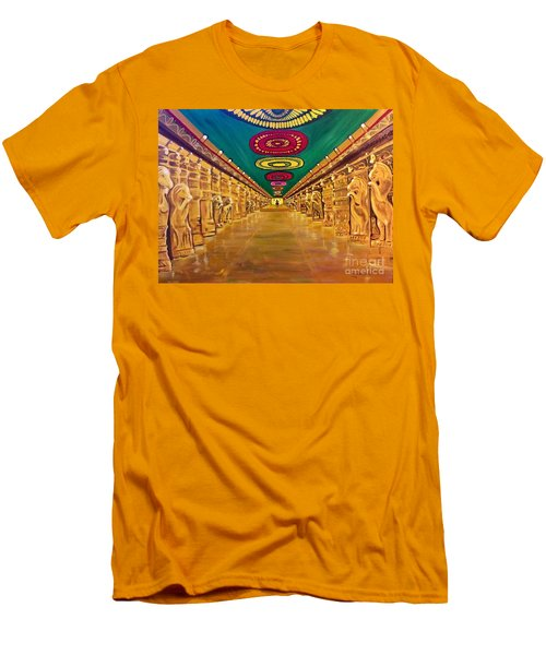 Men's T-Shirt (Slim Fit) featuring the painting Madurai Meenakshi Temple Mandapam by Brindha Naveen