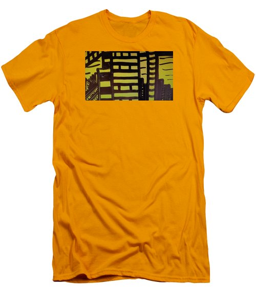 Men's T-Shirt (Slim Fit) featuring the painting Manhattan Sunrise 2 by Don Koester