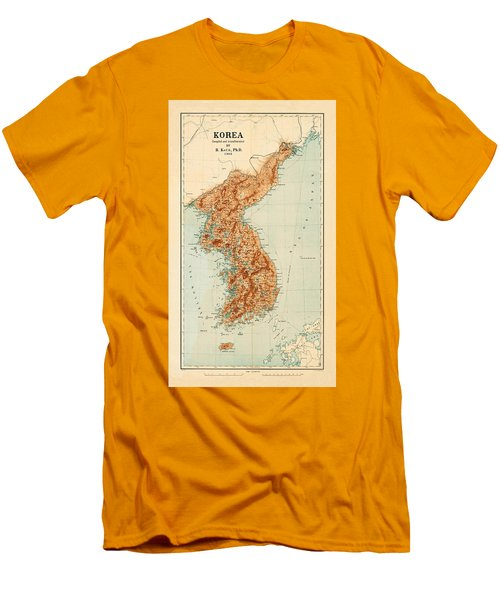 Map Of Korea 1903 Men's T-Shirt (Slim Fit) by Andrew Fare