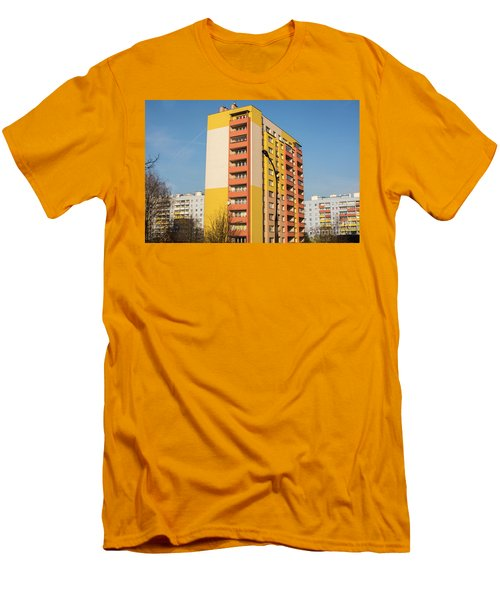Men's T-Shirt (Slim Fit) featuring the photograph Modern Apartment Buildings by Juli Scalzi