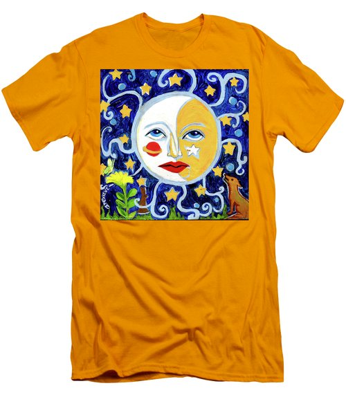 Men's T-Shirt (Slim Fit) featuring the painting Moonface With Wolf And Stars by Genevieve Esson