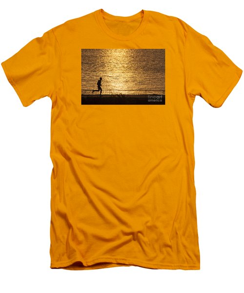 Men's T-Shirt (Slim Fit) featuring the photograph Morning Jog by Inge Riis McDonald