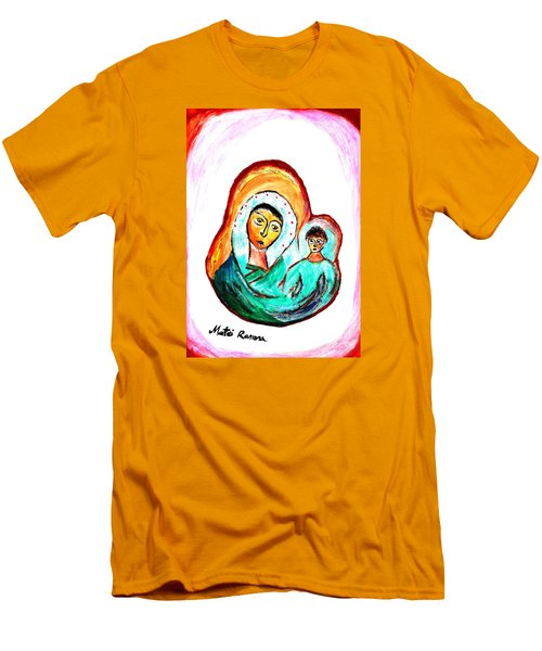 Men's T-Shirt (Slim Fit) featuring the painting Mother And Child by Ramona Matei