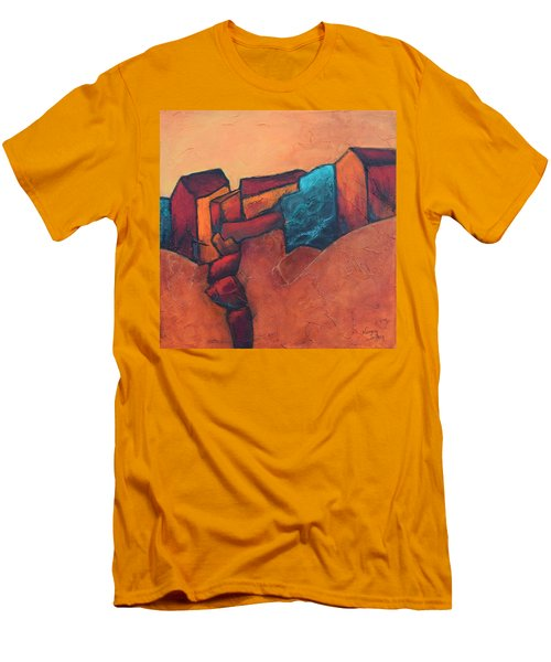 Men's T-Shirt (Slim Fit) featuring the painting Mountain Village by Nancy Jolley