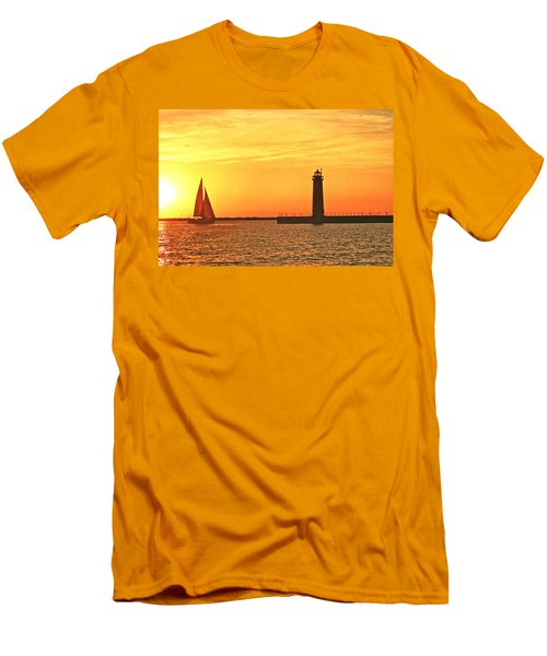 Muskegon Sunset Men's T-Shirt (Slim Fit) by Michael Peychich