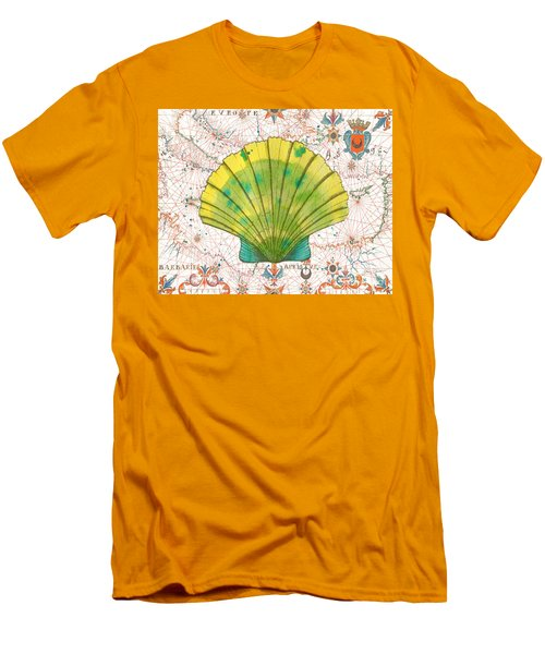 Men's T-Shirt (Slim Fit) featuring the painting Nautical Treasures-d by Jean Plout
