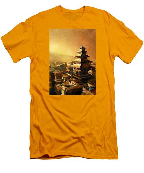 Nepal Temple Men's T-Shirt (Slim Fit) by Ryan Fox