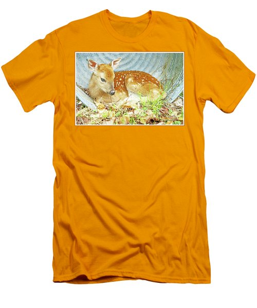Newborn Fawn Takes Shelter In An Old Washtub II Men's T-Shirt (Slim Fit) by A Gurmankin