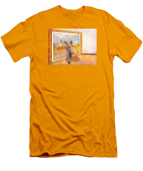 Men's T-Shirt (Slim Fit) featuring the painting Night At The Art Gallery - Railway To Freedom by Wayne Pascall