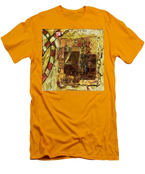 Men's T-Shirt (Athletic Fit) featuring the mixed media Number 2 Encaustic Collage by Bellesouth Studio