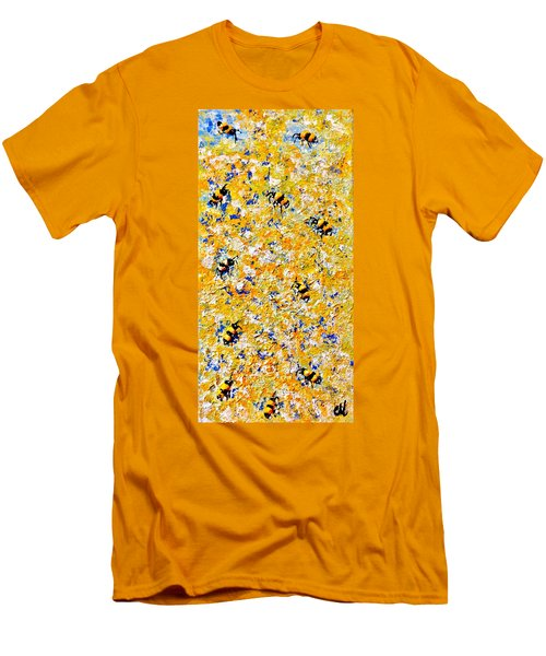 Men's T-Shirt (Slim Fit) featuring the painting Ode To Bees.. by Cristina Mihailescu