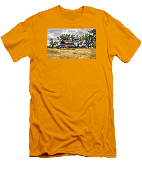 Old House And Barn Men's T-Shirt (Slim Fit) by James Steele