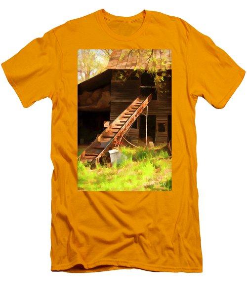 Old North Carolina Barn And Rusty Equipment   Men's T-Shirt (Slim Fit) by Wilma Birdwell