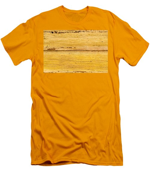 Men's T-Shirt (Slim Fit) featuring the photograph Old Yellow Paint On Wood by John Williams
