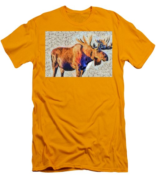 Men's T-Shirt (Slim Fit) featuring the painting One Handsome Moose by Elaine Ossipov