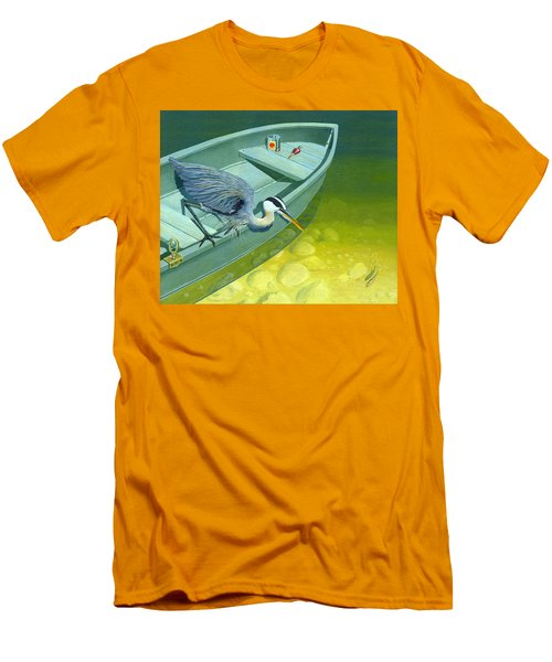 Opportunity-the Great Blue Heron Men's T-Shirt (Slim Fit) by Gary Giacomelli