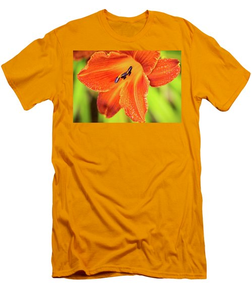 Orange Lilly Of The Morning Men's T-Shirt (Slim Fit) by Ken Stanback