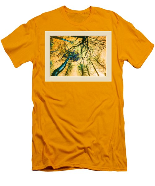 Orange Sky Tree Tops Men's T-Shirt (Slim Fit) by Felipe Adan Lerma