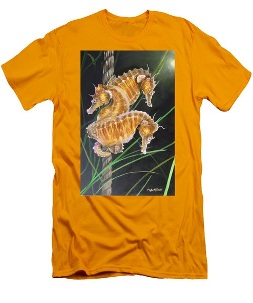 Pacific Lined Seahorse Trio Men's T-Shirt (Slim Fit) by Phyllis Beiser