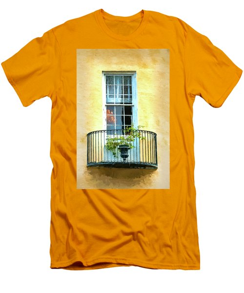 Painterly Window And Balcony Men's T-Shirt (Slim Fit) by Gary Slawsky