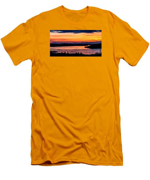 Men's T-Shirt (Slim Fit) featuring the photograph Panoramic Sunset Over Hail Passage E Series On The Puget Sound by Rob Green