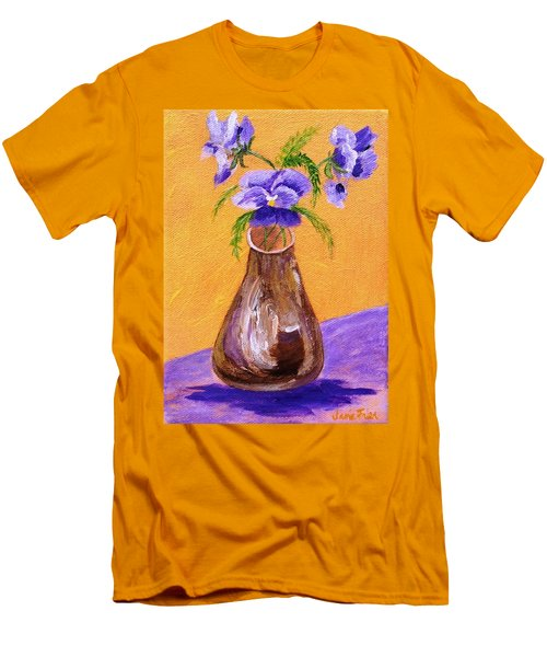 Pansies In Brown Vase Men's T-Shirt (Athletic Fit)