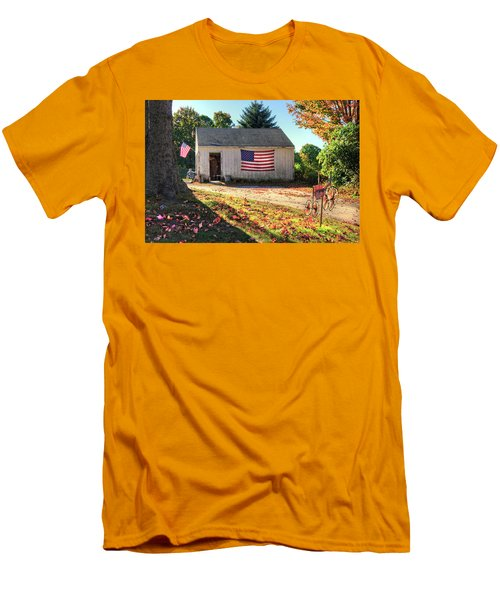 Men's T-Shirt (Athletic Fit) featuring the photograph Patriotic Barn With Flag In Autumn by Joann Vitali