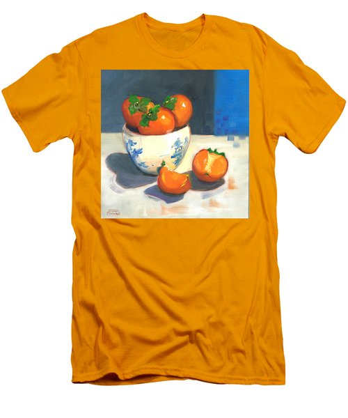 Men's T-Shirt (Slim Fit) featuring the painting Persimmons by Susan Thomas