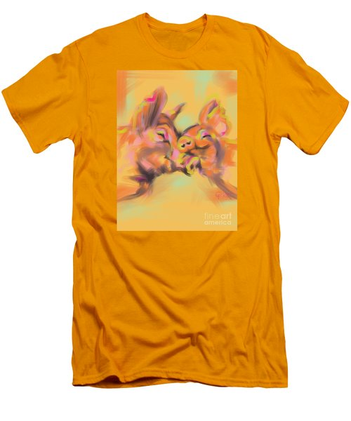 Men's T-Shirt (Slim Fit) featuring the painting Piggy Love by Go Van Kampen
