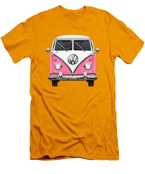 Pink And White Volkswagen T 1 Samba Bus On Yellow Men's T-Shirt (Slim Fit) by Serge Averbukh