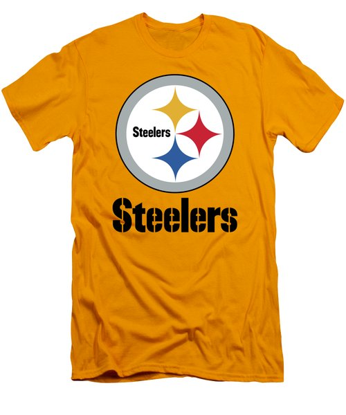 Pittsburgh Steelers On An Abraded Steel Texture Men's T-Shirt (Athletic Fit)