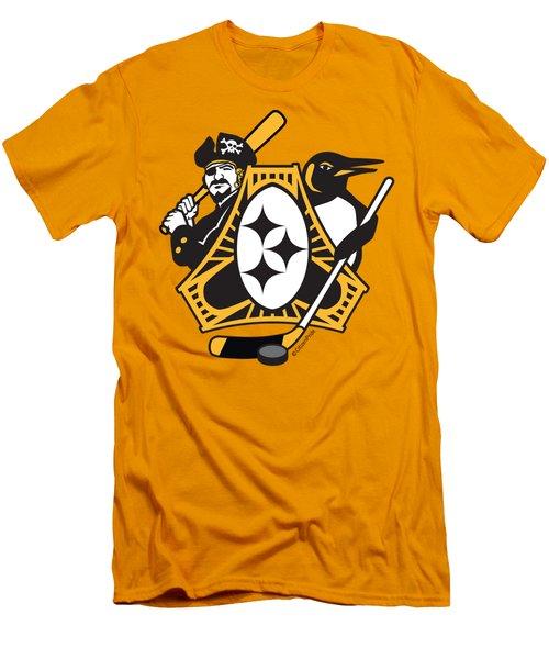 Pittsburgh-three Rivers Roar Sports Fan Crest Men's T-Shirt (Athletic Fit)
