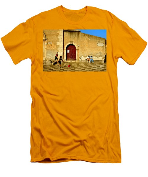 Playing In Taormina Men's T-Shirt (Slim Fit) by Silvia Ganora