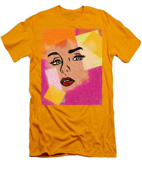 Men's T-Shirt (Slim Fit) featuring the mixed media Pop Art Comic Woman by Dan Sproul