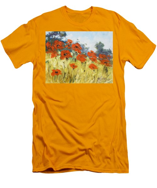 Poppies 3 Men's T-Shirt (Slim Fit) by Irek Szelag