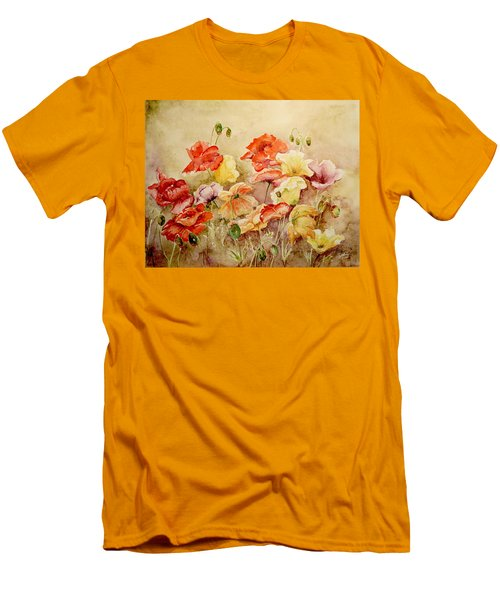 Men's T-Shirt (Slim Fit) featuring the painting Poppies by Marilyn Zalatan