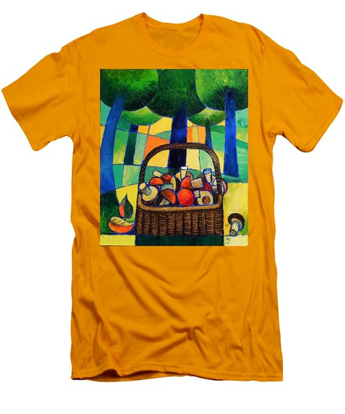 Men's T-Shirt (Slim Fit) featuring the painting Porcini by Mikhail Zarovny