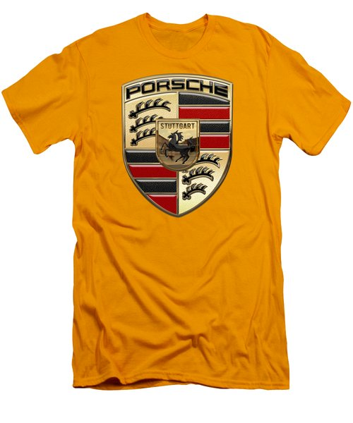 Porsche - 3d Badge On Yellow Men's T-Shirt (Slim Fit) by Serge Averbukh