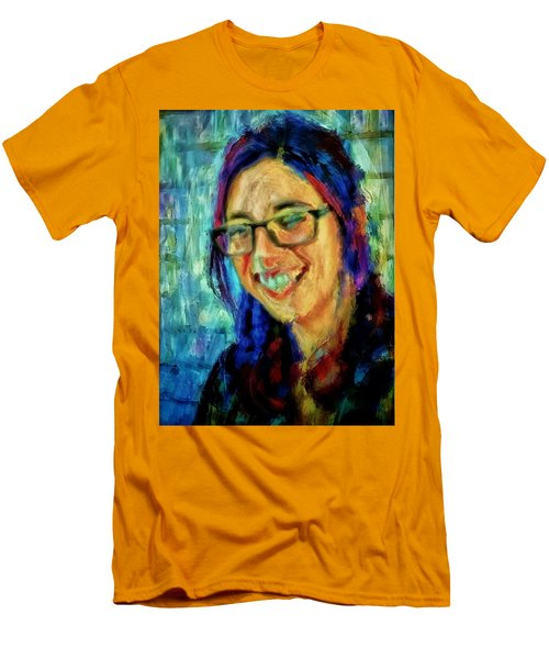 Men's T-Shirt (Slim Fit) featuring the painting Portrait Painting In Acrylic Paint Of A Young Fresh Girl With Colorful Hair In A Library With Books  by MendyZ