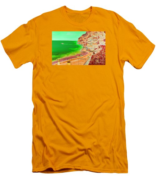 Men's T-Shirt (Slim Fit) featuring the painting Positano Bay by Loredana Messina