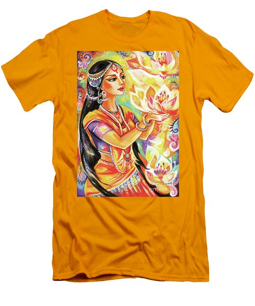 Men's T-Shirt (Athletic Fit) featuring the painting Pray Of The Lotus River by Eva Campbell